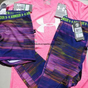 Under Armour Girls Large Fitted Shorts Capri's Top